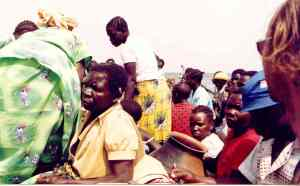 Very crowded boat from Uganda to Democratic Republic of the Congo across Lake Albert