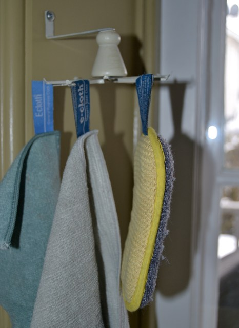 e-cloths hanging in kitchen