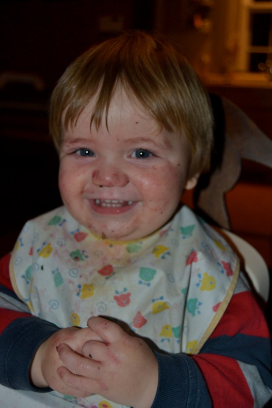 Remy's messy face easily cleaned up with norwex baby cloths