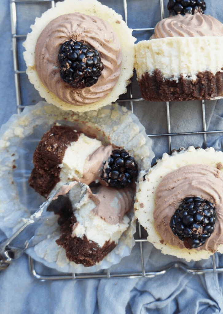 Keto Mini Cheesecakes with Chocolate Mousse Whipped Cream 6