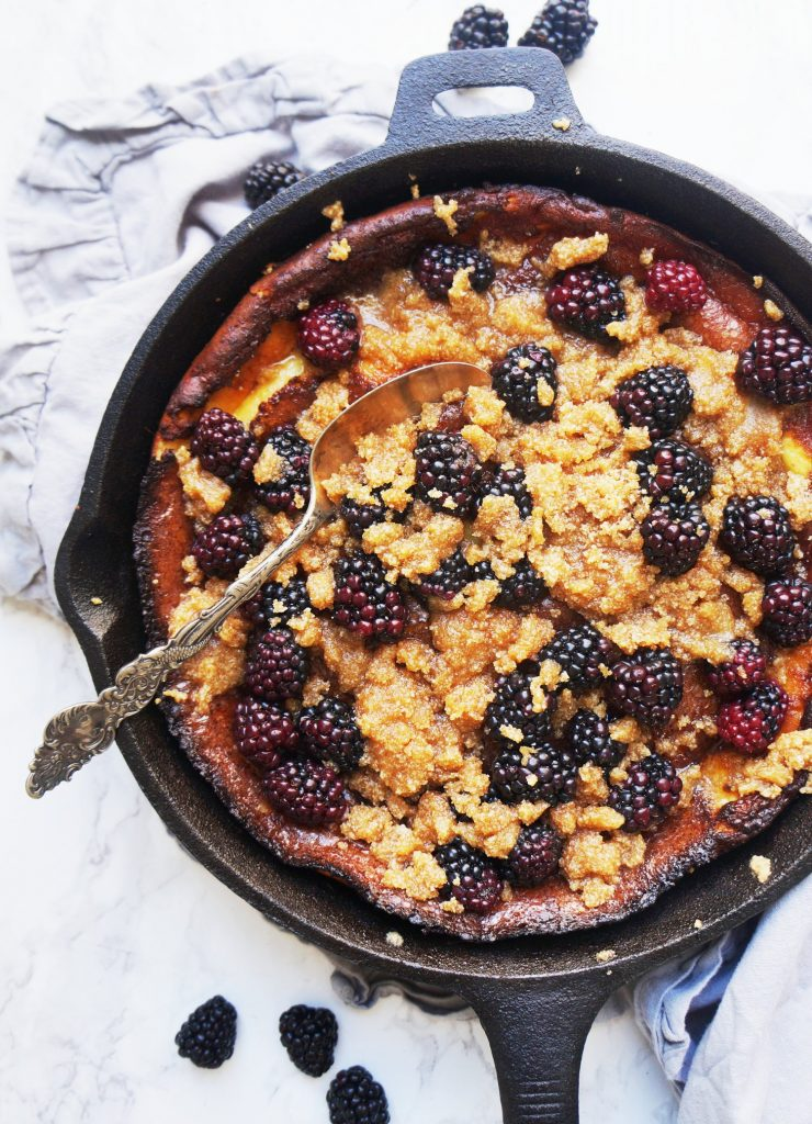 Clean Keto Blackberry Crumble Dutch Baby