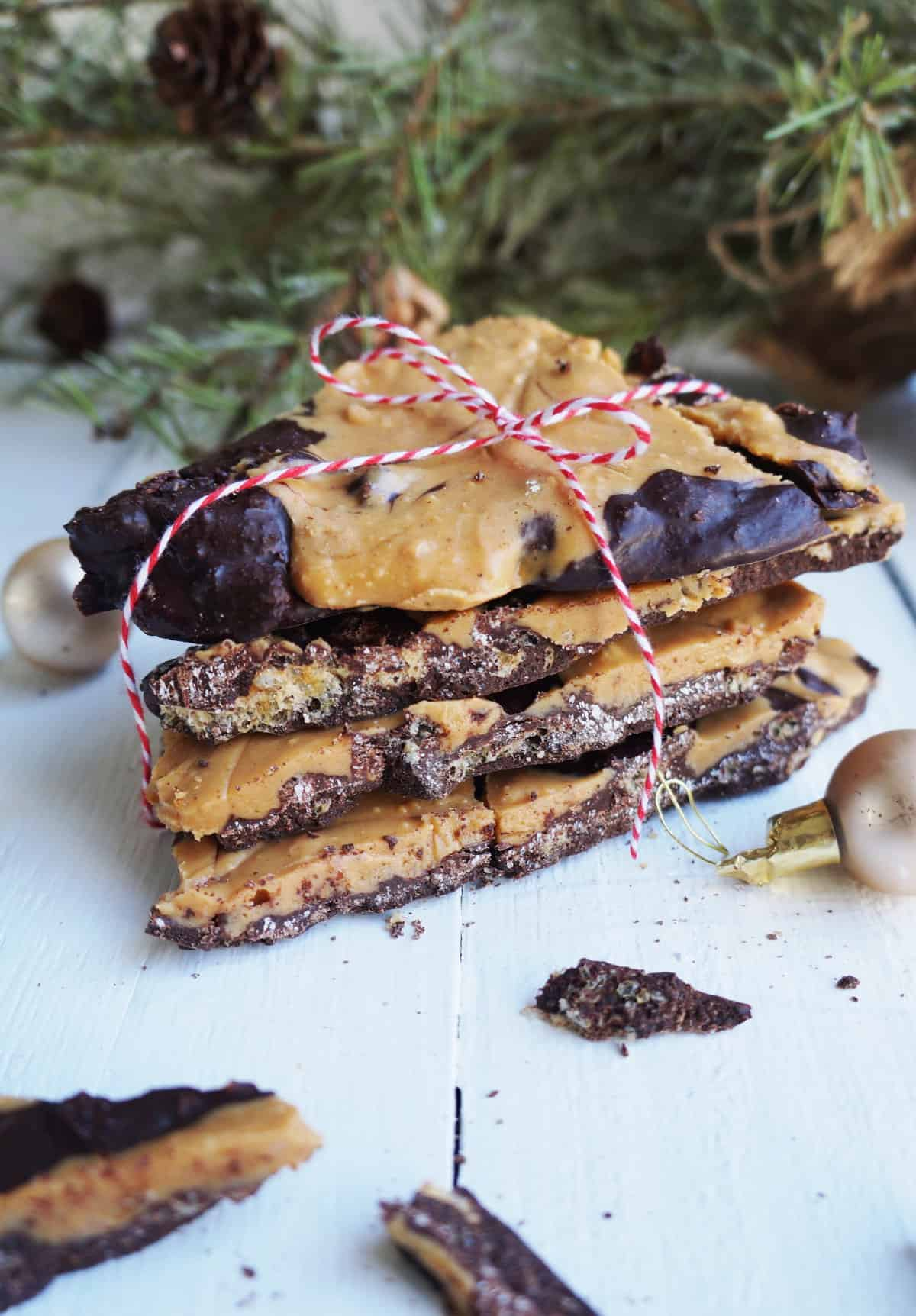 Clean Keto Pork Rind and Peanut Butter Chocolate Bark