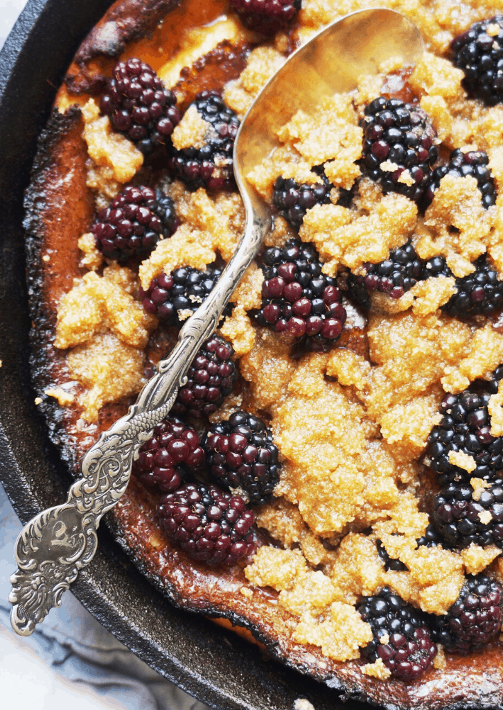 Keto Dutch Baby with Blackberry Crumble