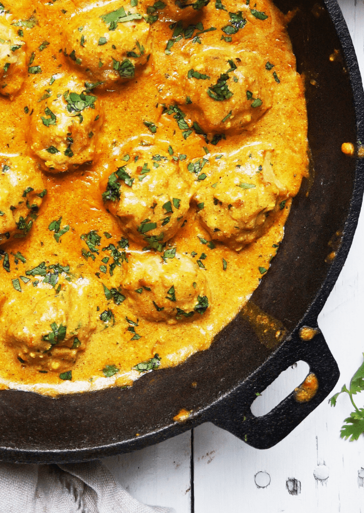 close up of keto butter chicken meatballs