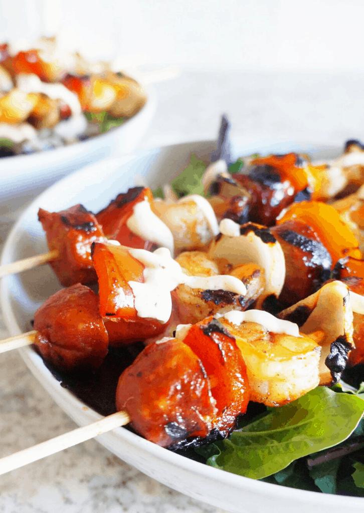 Keto Cajun Shrimp and Sausage Kabob Salad