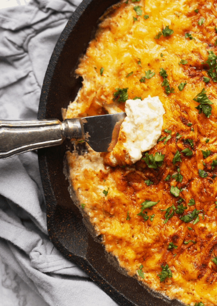 close up of keto crab dip with melted cheese