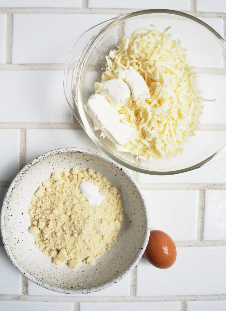 Clean Keto Calzone ingredients - almond flour, cream cheese, mozzarella and egg