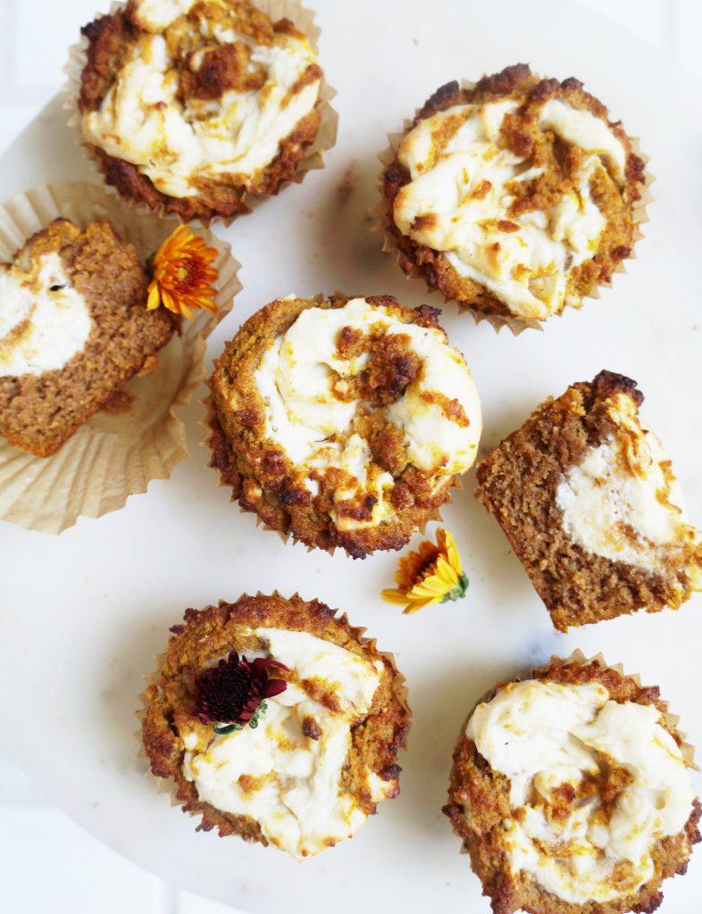 Clean Keto Pumpkin Muffins with Cream Cheese
