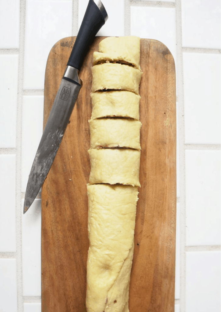 Slicing the Cinnamon Rolls