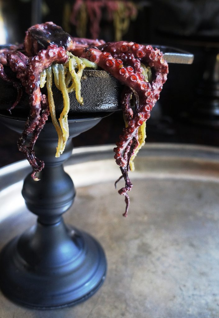 Keto Braised Octopus with Pesto Shirataki Noodles
