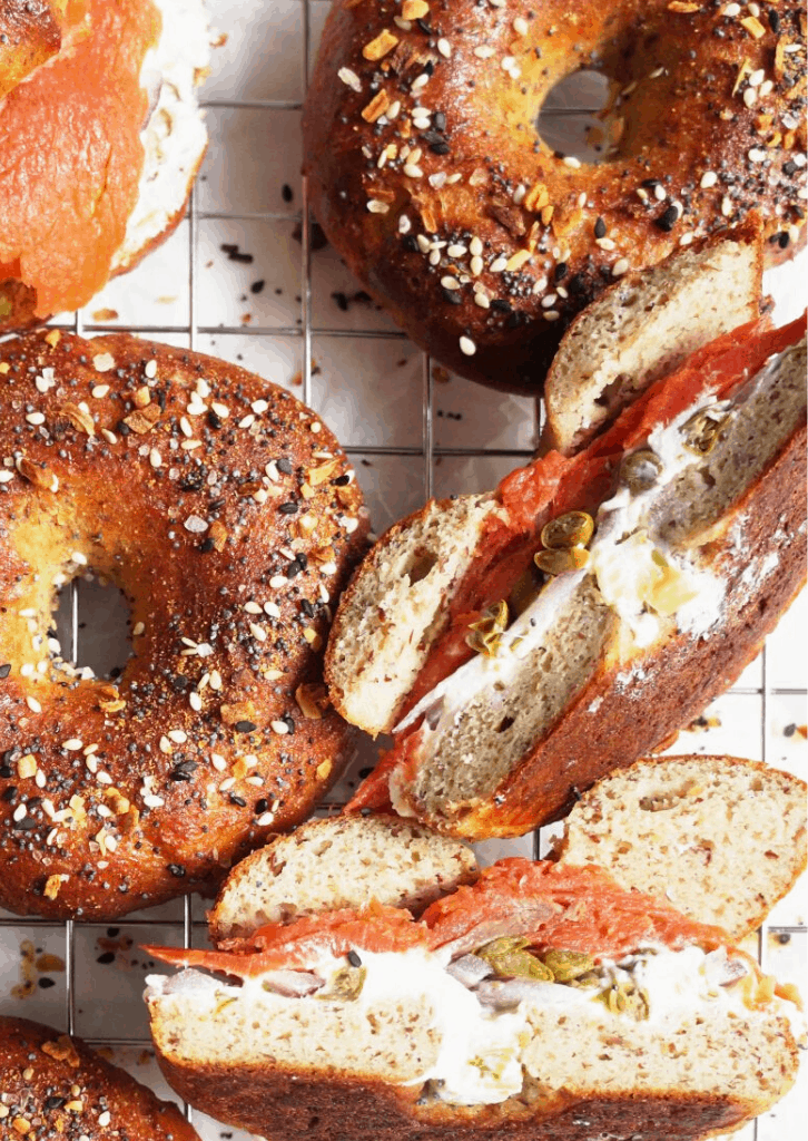 bagel sandwich with lox and cream cheese