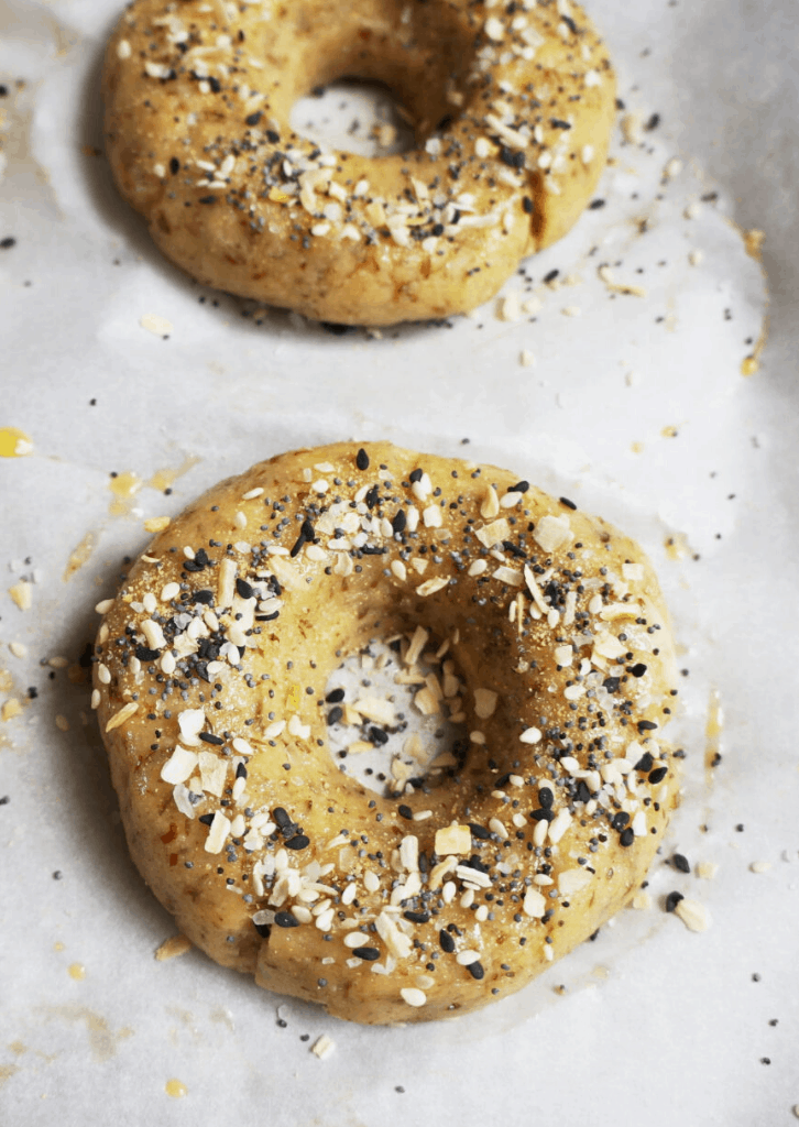 bagels sprinkled with everything seasoning