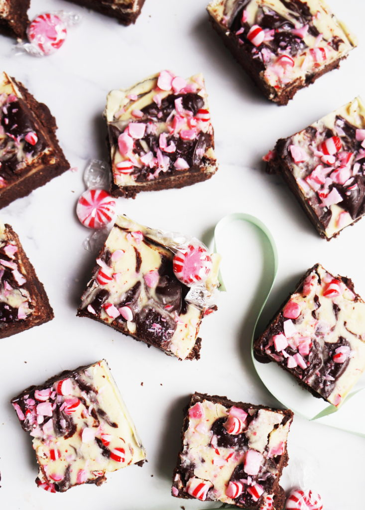 KETO CHOCOLATE BROWNIES WITH WHITE CHOCOLATE AND PEPPERMINT