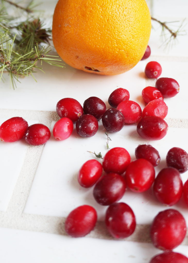 Cranberries and an orange