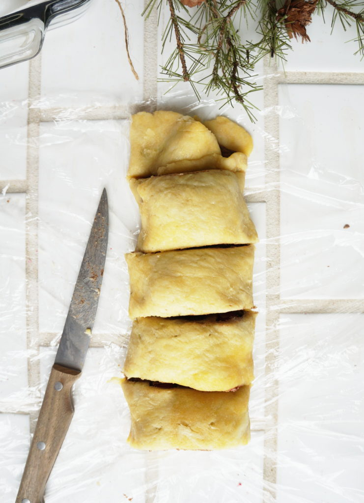 Keto Cinnamon Roll dough pieces