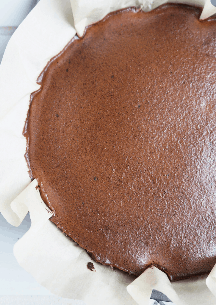 Keto Chocolate Egg Loaf Pie batter baked in a round cake pan