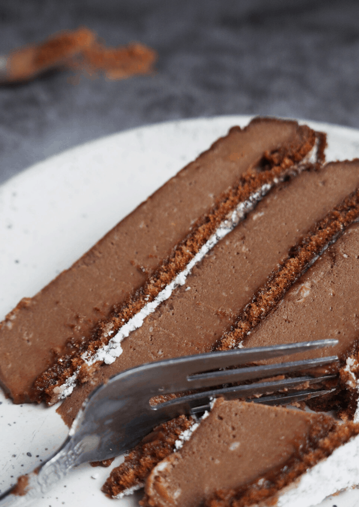 Keto Chocolate Egg Loaf Pie on plate with a fork