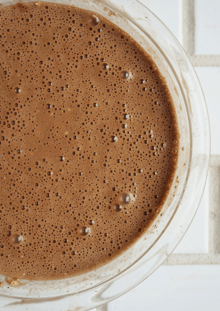 Keto Chocolate Egg Loaf batter in a mixing bowl