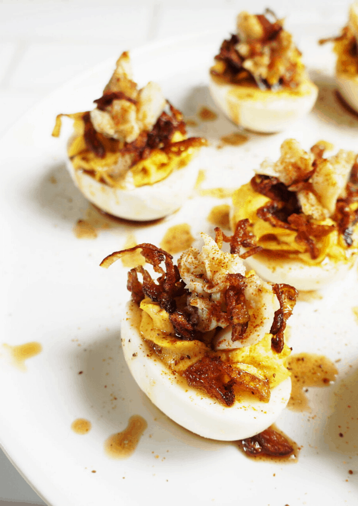 deviled egg with fried shallots