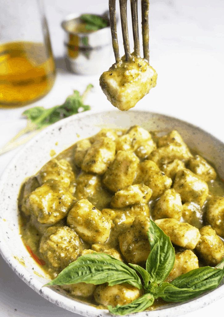cauliflower gnocchi pierced with a fork