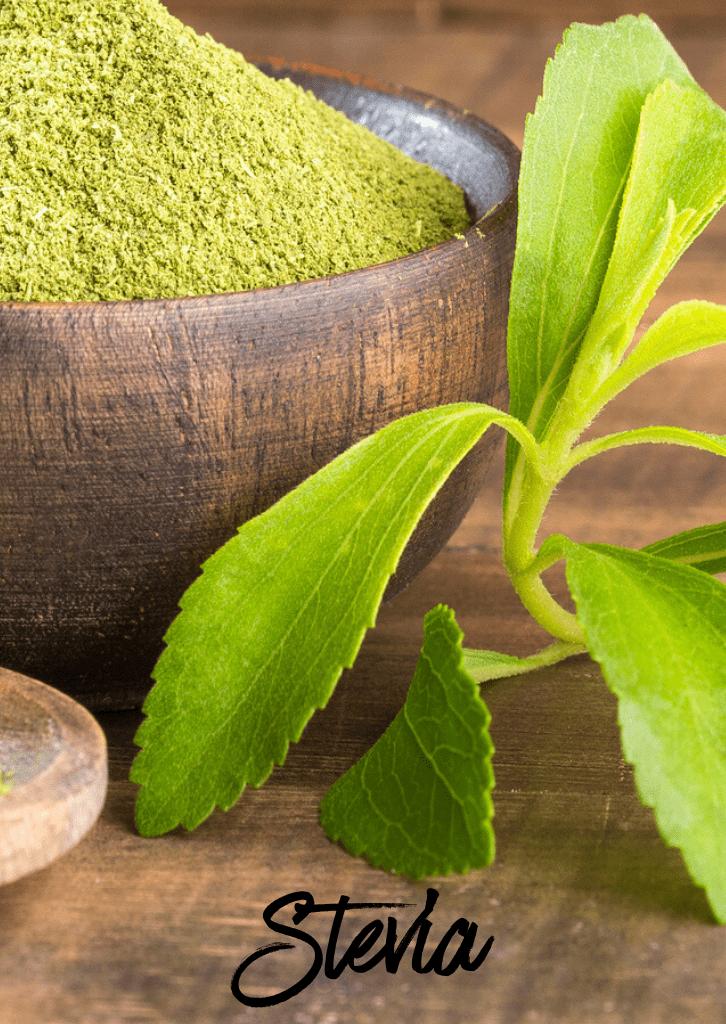 green stevia leaf and powder