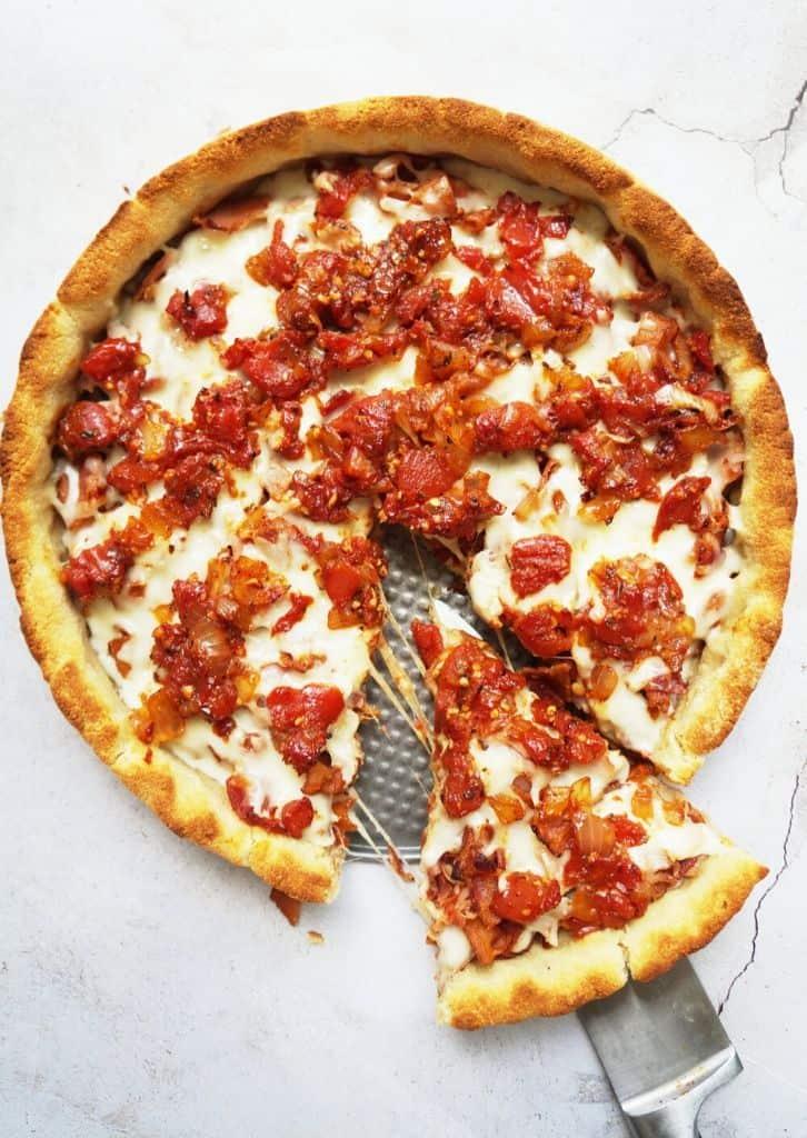 whole deep dish pizza