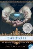 "<span class=""item""><span class=""fn title-book"">THE THIEF</span><span class=""title-author""> by Megan Whalen Turner</span></span>"