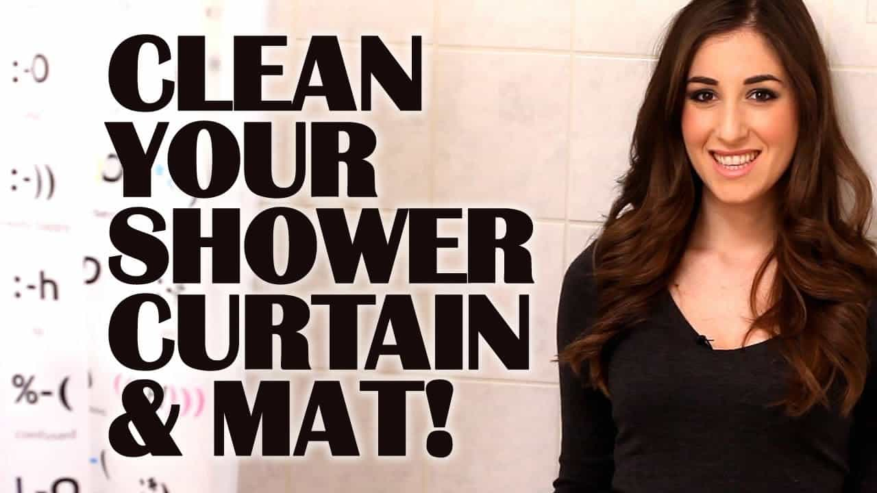to clean a plastic shower curtain mat