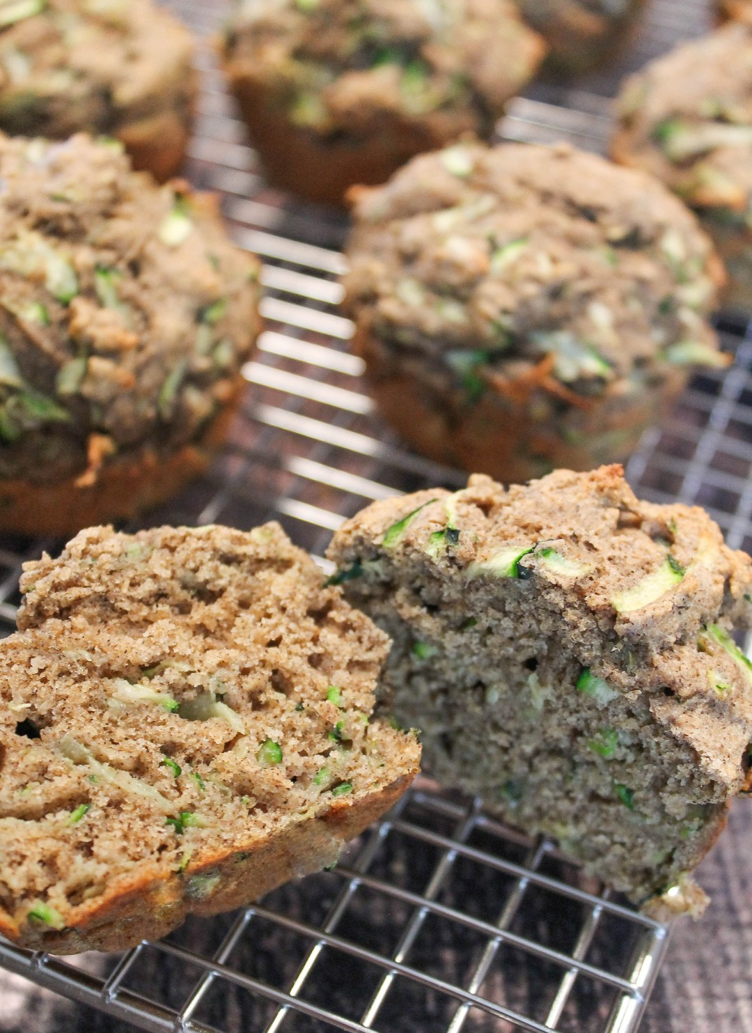 Zucchini Muffins on wire cooling rack
