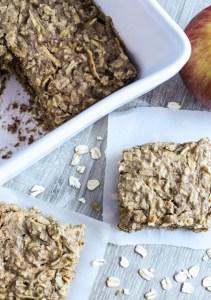 Overhead view of individual apple almond breakfast bars
