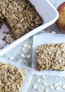 Overhead view of individual apple almond breakfast bars