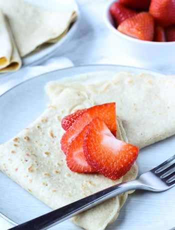 Ready to eat whole wheat crepes with strawberry filling and strawberries on top