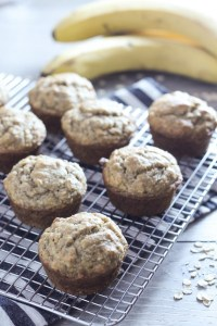 side angle view of banana muffins on wire cooling rack