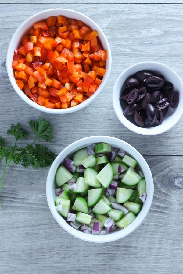 Greek salad ingredients overhead view