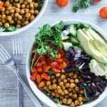 Overhead view of Greek salad bowls