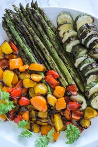overview view of plate of grilled veggies