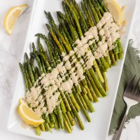 Easy Roasted Asparagus with Lemon Tahini Sauce