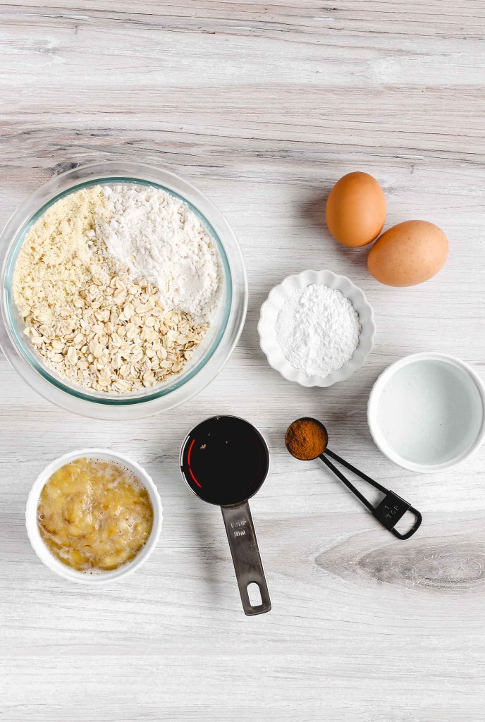overhead view of ingredients used to make banana muffins