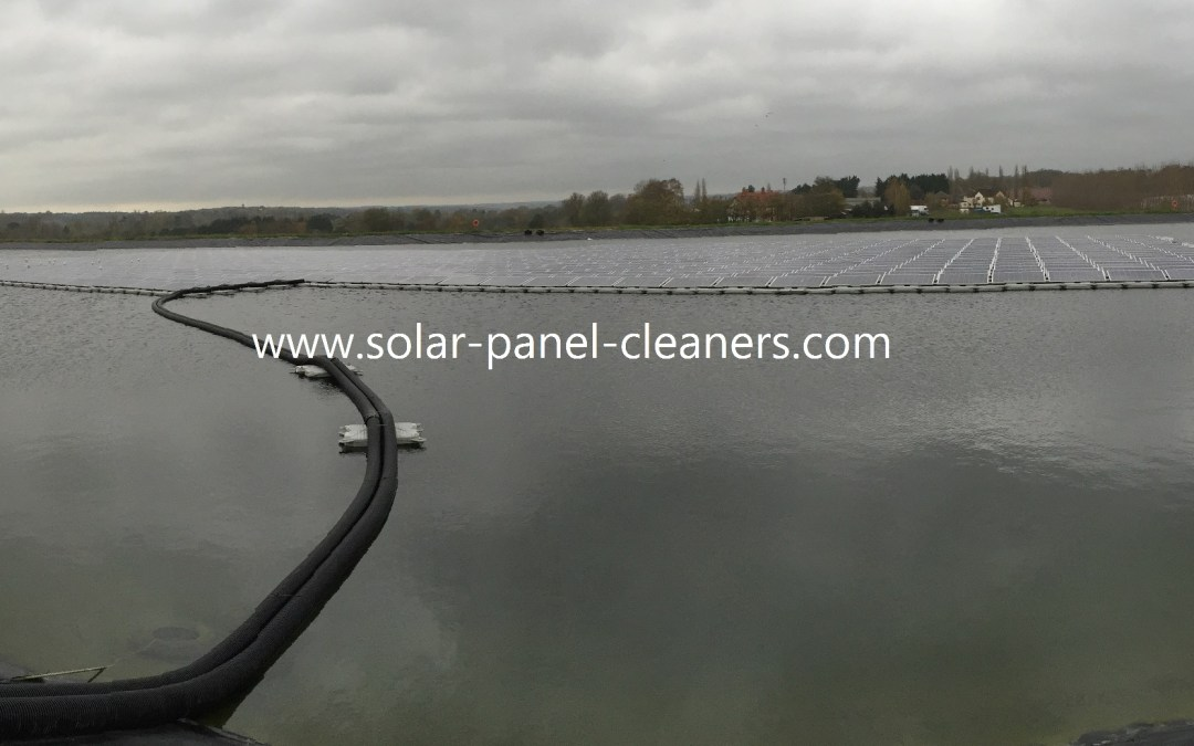 Solar Panels at Europe's First Floating Solar Farm Cleaned