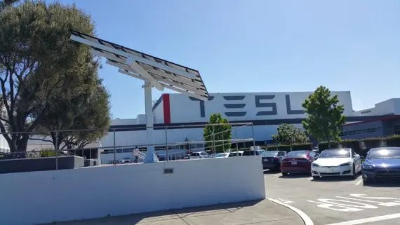 Tesla Fremont factory parking 4