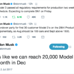 Elon Tweets Model 3 Production Ramp up