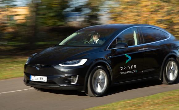 Driven airport Tesla shuttle