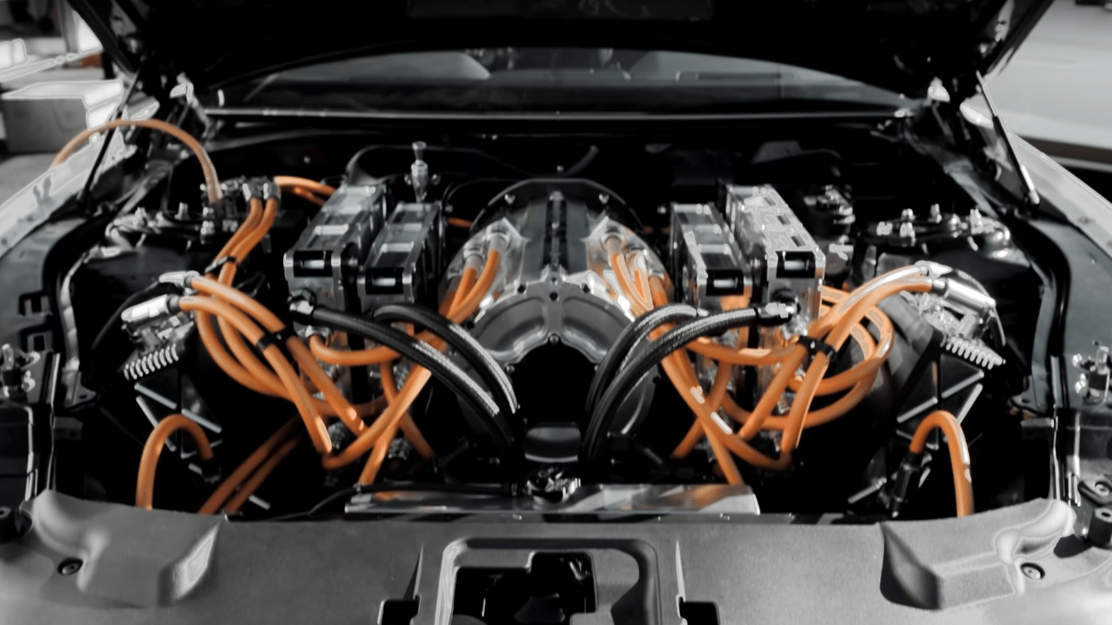 electric mustang cobra jet engine under the hood