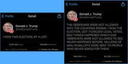 Donald Trump tweets bullshit about winning the election he very clearly lost.