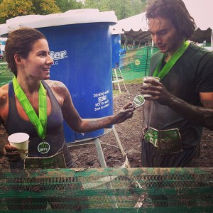 Team CleanWorkout at the finish line of Toronto's 2014 Mud Hero Race. Deanna and Justin Dickins tackled the challenges together.