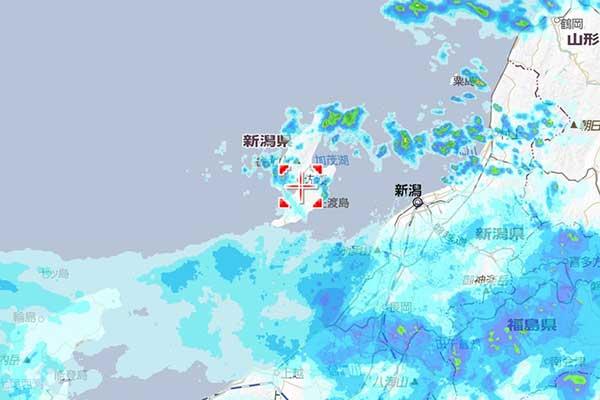 ヤフー天気の雨雲ズームレーダー(画像の一部)