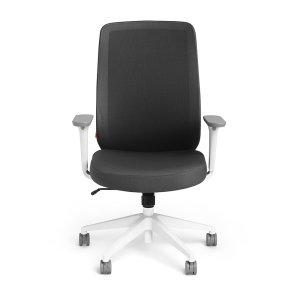 Poppin Max Task Chair High Back, White Frame, Dark Gray