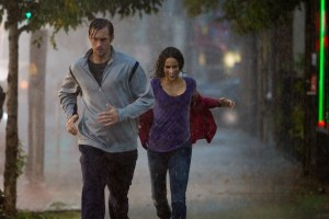 Obligatory troubled marriage running through the rain shot.
