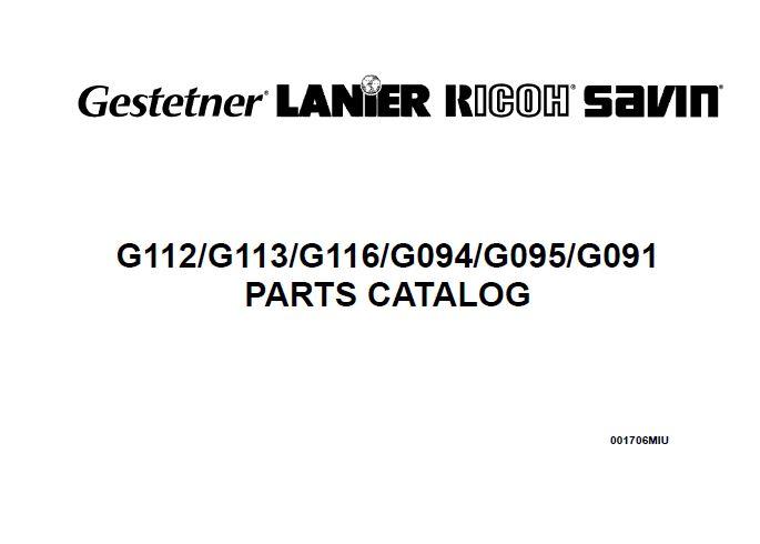 GESTETNER, LANIER, RICOH Aficio Service Manual & Parts Manual.