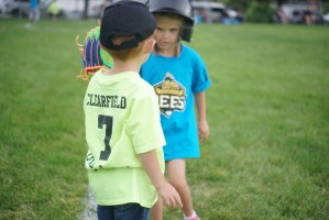 T-Ball Players at Base